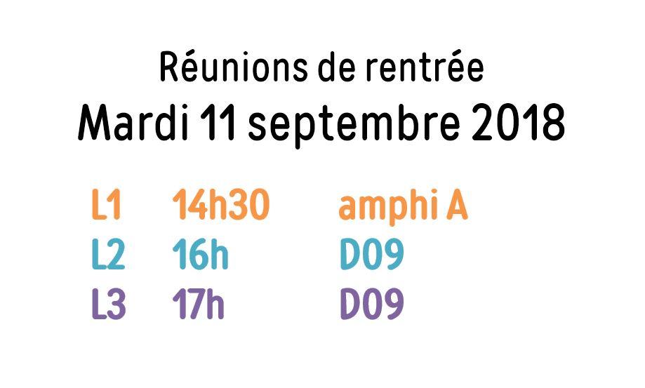 Réunions de pré-rentrée en Licence Cinéma-AV : mardi 11 septembre 2018