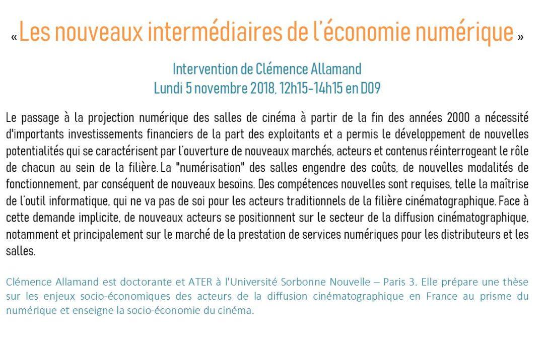 Intervention de Clémence Allamand «Les nouveaux intermédiaires de l'économie numérique»