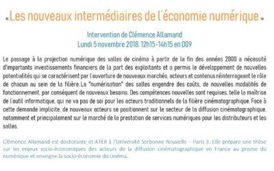 """Intervention de Clémence Allamand """"Les nouveaux intermédiaires de l'économie numérique"""""""