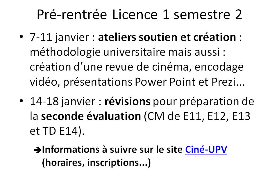 Pré-rentrée Licence 1 semestre 2 : ateliers soutien et création / révisions seconde évaluation