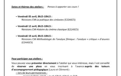 Ateliers pédagogiques : révision des CM L1