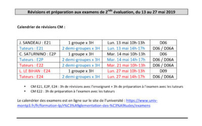 Ateliers de révisions et de préparation aux examens de seconde évaluation L1