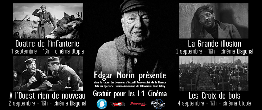 Pré-rentrée de la filière cinéma : Edgar Morin présente… du 1er au 4 septembre