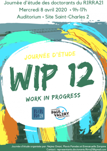 eWiP 12 : journée d'étude des doctorants, mercredi 25 novembre, en ligne 9h-17h