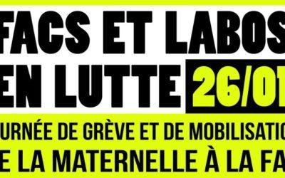 Grève et mobilisation le mardi 26 janvier